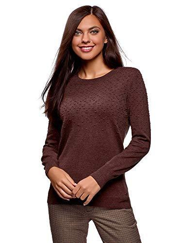 oodji Ultra Mujer Jersey Texturizado con Cuello Redondeado, Marrón, ES 44 / XL