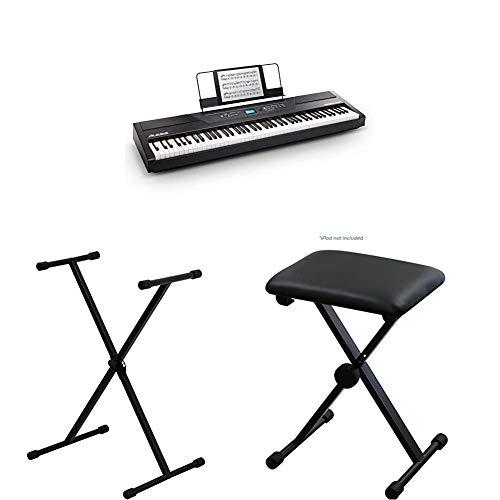 Alesis 88鍵盤 電子ピアノ ハンマーアクション鍵盤 Recital Pro ブラック と キクタニ キーボードスタンド と キーボードベンチのセット