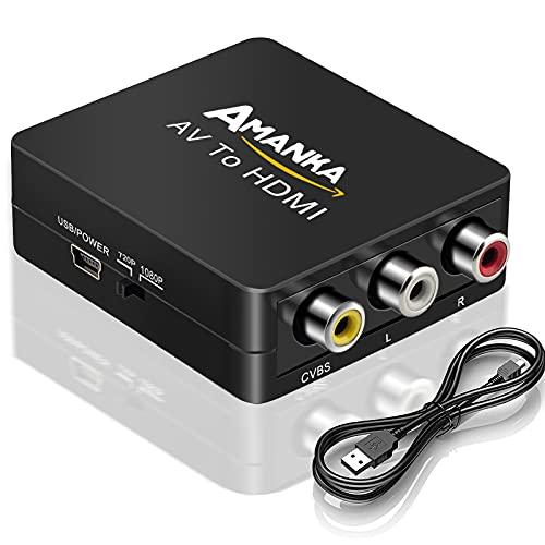 AMANKA Mini Conversor AV a HDMI Convertidor Compuesto RCA CVBS...