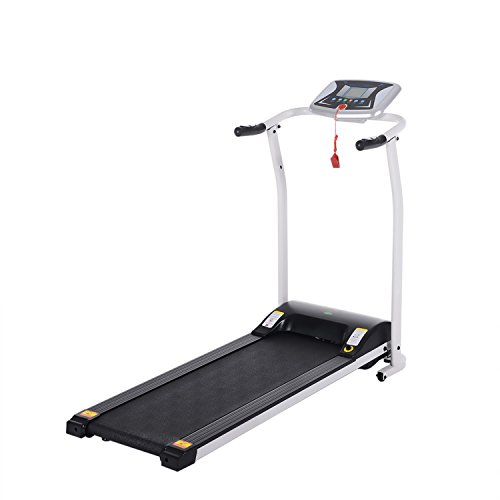 Flyerstoy Folding Electric Treadmill Exercise Equipment Walking Running Machine with 'Pacer Control' & Heart Rate System (1.5HP-White) Treadmills