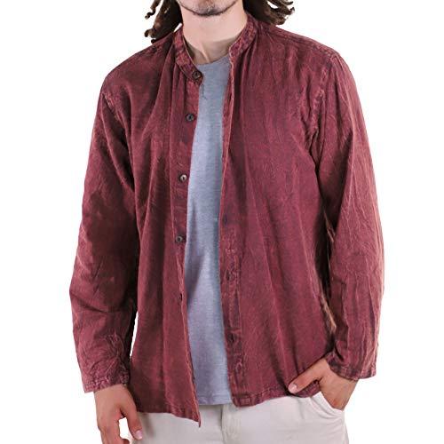 KUNST UND MAGIE Herren Hemd Stonewashed Fischerhemd Freizeithemd, Größe:XL, Farbe:Dunkelbraun