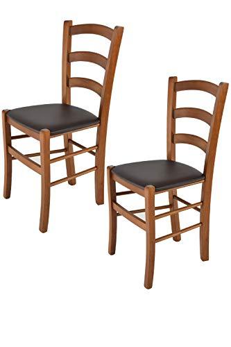 Tommychairs - 2er Set Stühle Venice für Küche und Esszimmer, Struktur aus lackiertem Buchenholz im Farbton helles Nussbraun und gepolsterte Sitzfläche mit Kunstleder in der Farbe Mokka bezogen
