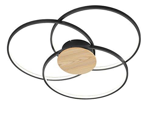 Trio Leuchten LED Deckenleuchte Sedona 673210332, Metall Schwarz matt/holzoptik, inkl. 40 watts LED, Switch Dimmer