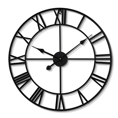WEIFENG Reloj de pared retro de hierro forjado, 24 pulgadas, reloj de pared silencioso con números romanos redondo, negro, apto para sala de estar, dormitorio, jardín, oficina, 80 cm