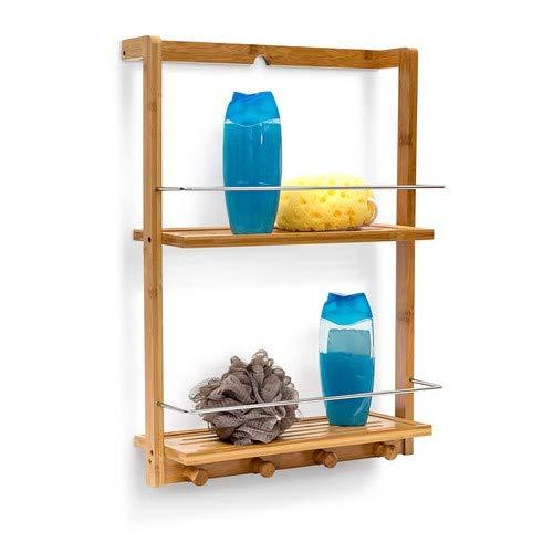 Relaxdays doucheplank van bamboe h x b x d: ca. 53 x 38 x 15,5 cm doucheplank met 2 legplanken van vochtbestendig hout hangrek voor de badkamer als praktische ophangplank met 4 handdoekhaken, naturel