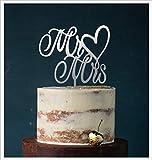 Cake Topper, Mr & Mrs, Tortenstecker, Tortefigur Acryl, Tortenständer Etagere Hochzeit Hochzeitstorte Kuchenaufstecker (Silber Spiegel (Einseitig)) Art.Nr. 5044