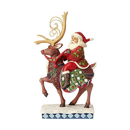 Enesco Jim Shore Heartwood Creek Santa Riding Reindeer Figurine, 10.75', Multicolor