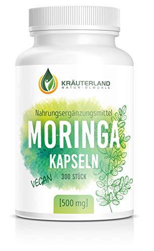 Kräuterland Moringa Oleifera Kapseln, 300 Kapseln, vegan, hochdosiert mit 2000mg pro Tagesdosis, 100% reines Moringa Blattpulver, Vitamine für Veganer, Vegetarier und Sportler (300 Kapseln)