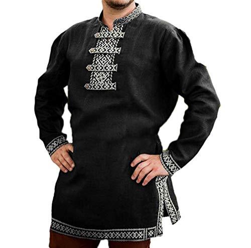 Huateng Disfraz de Traje Medieval de Vikingo para Hombre Túnica vikinga Renacimiento Pirata Chaqueta de Traje
