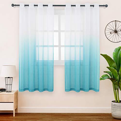 FLOWEROOM Gardinen/Vorhang Transparent Voile für Schlafzimmer und Wohnzimmer, 140 x 145 cm, Blaugrün – Gardine Farbverlauf Fenster Vorhänge mit Ösen, Sheer Curtains 2er Set