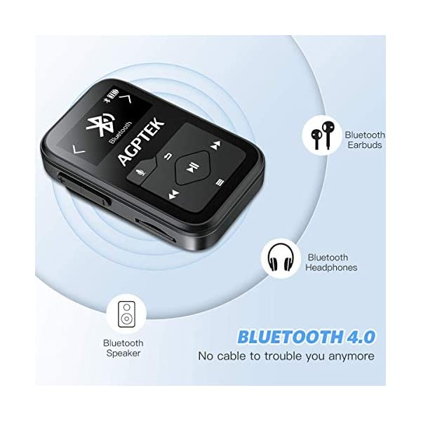 Clip MP3 Player with Bluetooth,16GB Mini Sport Music Player with Headphones, FM Radio,Voice Recorder, TF up to 128GB by AGPTEK 4