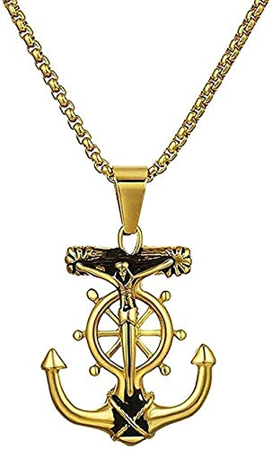 ZGYFJCH Co.,ltd Necklace Woman Necklace Anchor Necklace Necklaces & Pendants 316l Stainless Steel Silver Rudder Necklace Jewelry r Jesus Necklaces Gift for Women Men Gift