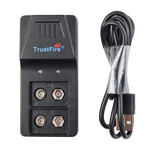 TrustFire 9VBC01 USB 9V Batterie Akku Ladegerät für Lithium Ionen NI-MH Akkus mit 9V und USB Ladekabel Schnell Aufladen