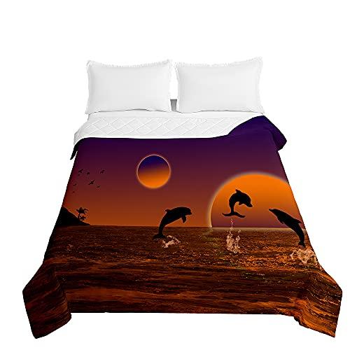 Surwin Tagesdecke Bettüberwurf Steppdecke für Doppelbett Einzelbett, Mikrofaser Wattiert Gesteppt Bettdecke 3D Delphin Tierdruck Dünne Tagesdecken mit Ultraschall Prägung (Orange Sonne,100x150cm)