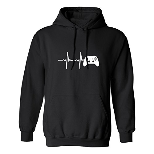 Heartbeat of a Gamer 2 Adult Hooded Sweatshirt in Black - Large