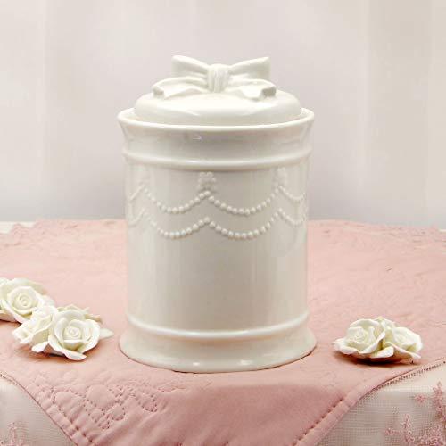 CdCasa Vorratsdose Keramik mit Deckel, Küche Deckeldose, Vorratsdose mit Luftdichter Deckel, Vorratsglas Landhaus Shabby Chic - Schleife - 12x18 - Hell Elfenbein