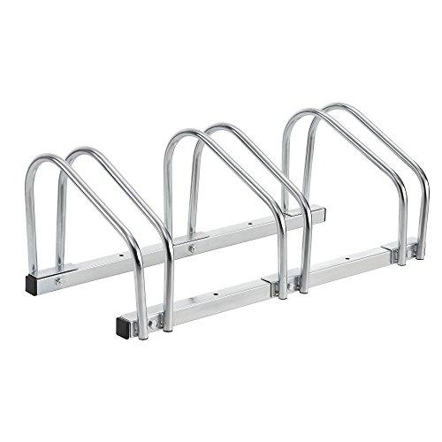 [neu.haus] Fahrradständer für 3 Fahrräder - freistehend - Bodenparker Silber