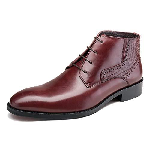 LIXIYU Cordones de Cuero para Hombres Zapatos de Oxford Casuales de Negocios Negros/Rojo Vino Zapatos Formales Zapatos de Vestir de Oficina de Boda Botas,Red wine-42