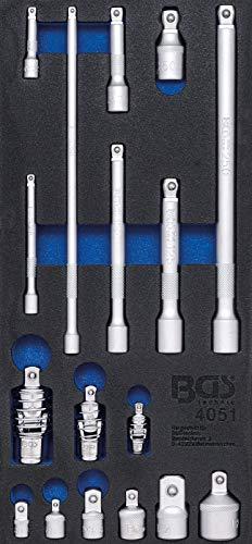 BGS 4051 | Werkstattwageneinlage 1/3: Verlängerungs-, Adapter- und Gelenk-Satz | 17-tlg.