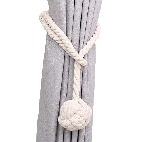 Mecozone 2 Pack Curtain Ropes, Handmade Cotton Knot Ball Curtain Tiebacks Tie Band for Drapes, Beige