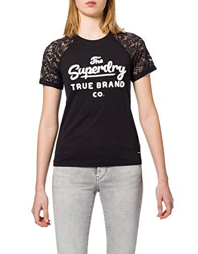 Superdry Summer Raglan Tee T-Shirt, Noir (Black 02a), M (Taille Fabricant:12) Femme