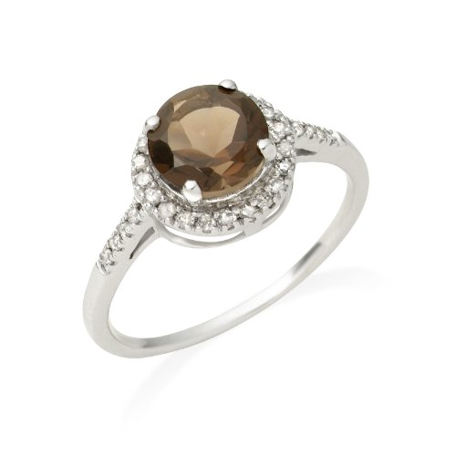 Miore Smoky Topaz Ring, 9ct White Gold, Diamond and Smoky Topaz Ring, Size N, JM021R6WO