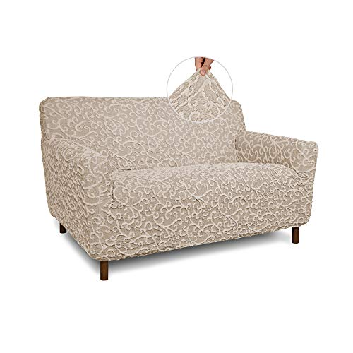 Loveseat Cover - 2 Seater Couch Slipcovers - Cotton Fabric Slipcovers - 1-Piece Form Fit Stretch Stylish Furniture Cover - Jacquard 3D Collection - Beige Arabesco (Loveseat)