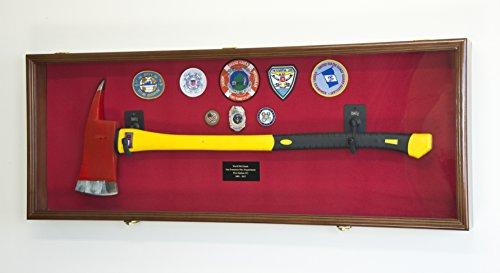 Firefighter Fireman Axe Display Case Cabinet Holder - 98% UV Lockable (Walnut Wood Finish, Red Background + Lights)