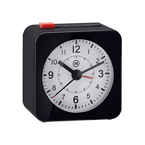 Marathon Mini Travel Alarm Clock, Silent Sweep, No Ticking, Auto Back Light and Snooze Function - CL030065BK-WH2 (Black/White)