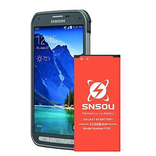 Galaxy S5 Active Battery ,Upgrade SNSOU [3300mAh] Li-ion Replacement Battery for Samsung Galaxy S5 Active SM-G870 (AT&T) & Galaxy S5 Sport SM-G860 (Sprint),Samsung S5 Battery. [18 Month Warranty]