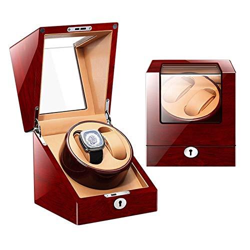 Enrollador de reloj 2 + 0 para relojes automáticos, caja de reloj, caja giratoria de reloj con pantalla de madera con control avanzado y caja de almacenamiento de motor silencioso Organizador de alma