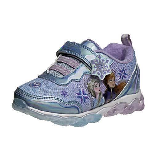 Disney Girls' Frozen Sneakers - Laceless Light-Up Running Shoes (Toddler/Little Girl), Size 12 Little Kid, Frozen Blue
