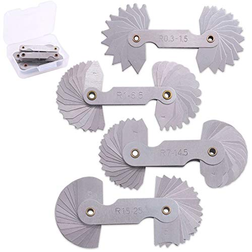 Glarks 4 Pack R0.3-1.5/ R1-6.5/ R7-14.5/ R15-25 Radius Gauge Set, Stainless Steel Radius Fillet Gage Portable Concave Convex Measuring Tool for Tool and Die Makers Check