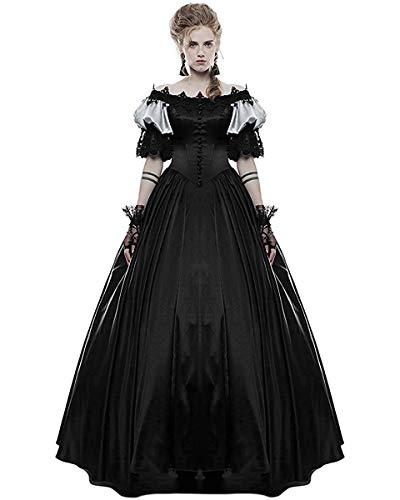 Punk Rave Gótico Traje de Novia Negro Largo Steampunk Vintage Victoriano Graduación Vestido de Gala - Negro, XL: UK Womens Size 14