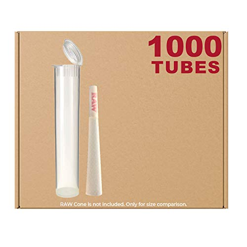 98MM Clear Doob Tubes | 1000 Bulk Pack | Waterproof Airtight and Smell Proof Blunt Vial Container | Child Resistant with Squeeze Pop Tops | BPA-Free | Ideal for Storing Pre Rolled Raw Cones