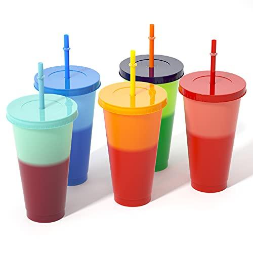 Taza que Cambia de Color de Bebida Fría, Juego de 5 Tazas Vasos de Plástico Reutilizables para Beber de 24 oz con Tapas y Pajitas para Café Helado Vasos Fríos de Bebidas Fiesta de Verano para Niños