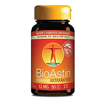 BioAstin Hawaiian Astaxanthin 12mg, 50 Count - Hawaiian Grown Premium Antioxidant - One per day - Sports Nutrition & Immunity Supplement - Supports Eye, Joint & Cardiovascular Health