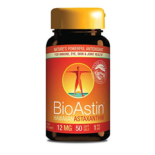 BioAstin Hawaiian Astaxanthin 12mg, 50 Count - Hawaiian Grown Premium Antioxidant - One per day - Sports Nutrition & Immunity Supplement - Supports Eye, Joint & Cardiovascular Health