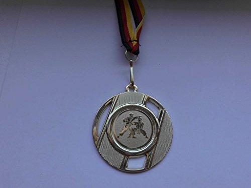 10 x Medaillen aus Metall 50mm mit einem Emblem - Karate - Kampfsport - Logo inkl. Medaillen Band - Farbe: Gold - Emblem 25mm - (e257) -