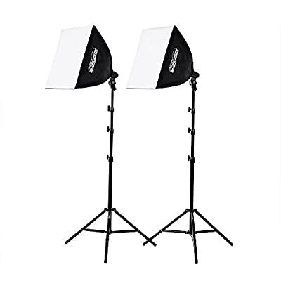 "Fovitec - 2-Light 1000W Fluorescent Lighting Kit for Photo & Video with 20""x20"" Softboxes, Stands (SPK10-069)"
