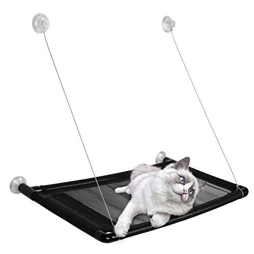 Yaviel Liegeplatte für Fensterbank Fenster Katzenhängematte, Fensterliege Extra Stabiler Fensterliegeplatz für Katzen Hängematte bis 20 kg