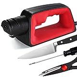 Electric Knife Sharpener for Kitchen, Professional Chef 4 Slot Design, Slip Resistant, Portable Safely Sharpen Knives, Scissors, Screwdriver, Fast Sharpening, Restore Polish Dull Blades to Sharp Edge