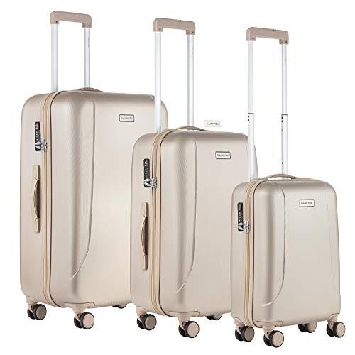 Carryon - Skyhopper 3er Reisegepäck - TSA Koffer - OKOBAN Registrierung - Hartschalen Gepäck-Set - Reisekoffers (Champagne)