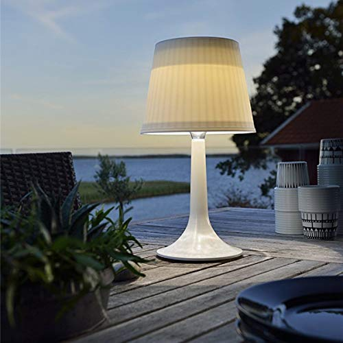 Outdoor Solar Powered Table Lamp Indoor LED Desk Lamp for Living Room Bedroom Night Lights Garden Patio Balcony Decorative Solar Table Lights 2 Lighting Modes (White)