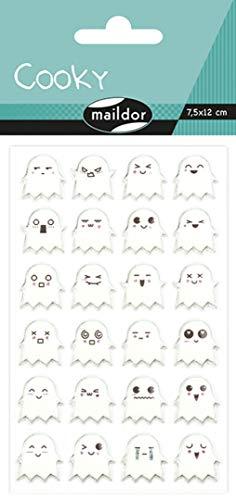 Maildor Cooky Adesivi Halloween Fantasmi, 7,5x 12cm (1Foglio per Confezione), Multicolore