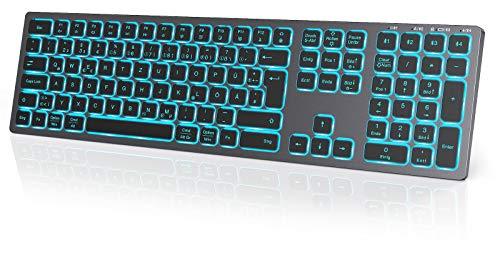 seenda Tastiera Bluetooth illuminata con 7 colori, tastiera wireless QWERTZ ultra sottile con 4 canali Bluetooth, tastiera wireless per Windows/Mac OS/iOS/Android, colore: grigio