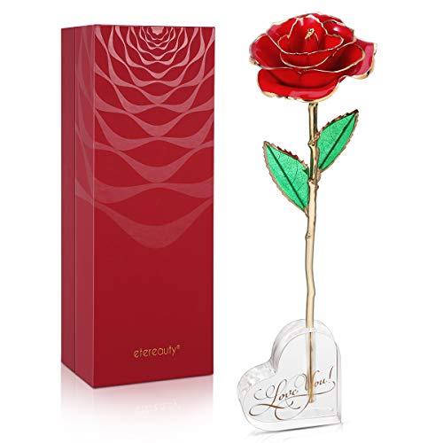 ETEREAUTY Rosa de Oro de 24 Quilates para Siempre, Rosa chapada en Oro Eterno con Exquisito Titular y Tarjeta de Regalo, Regalo de Mujer para el día de la Madre, Aniversario, cumpleaños