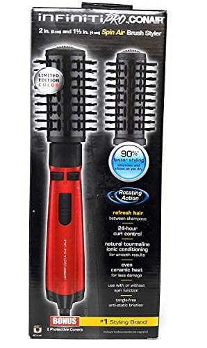 INFINITI PRO Spin Brush Hot Air, 2 Inch and 1 1/2 Inch, Red
