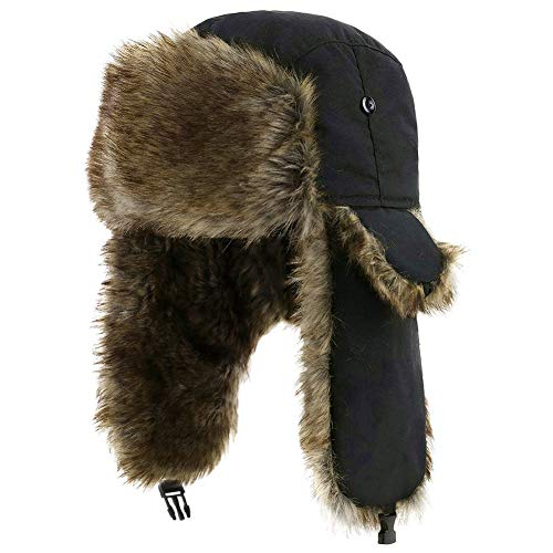YESURPRISE Trappermütze, Wintermütze mit Ohrenklappen, Fellmütze, Kunstfellmütze, Fliegermütze