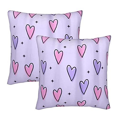 COVASA Funda de Almohada de poliéster Suave y cómoda,Estrellas de corazón de Amor Rosa púrpura,2 Piezas de Funda de Almohada Cuadrada para decoración de sofá y Ropa de Cama